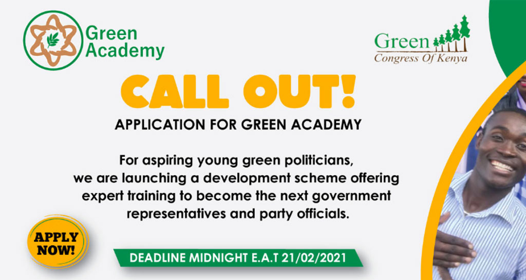 CALL OUT: APPLICATIONS FOR GREEN ACADEMY